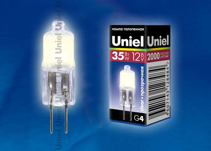 Лампа галогенная Uniel JC-12/35/G4 CL обладает цоколем G4 и мощностью в 35вт., имеет прозрачную колбу.
