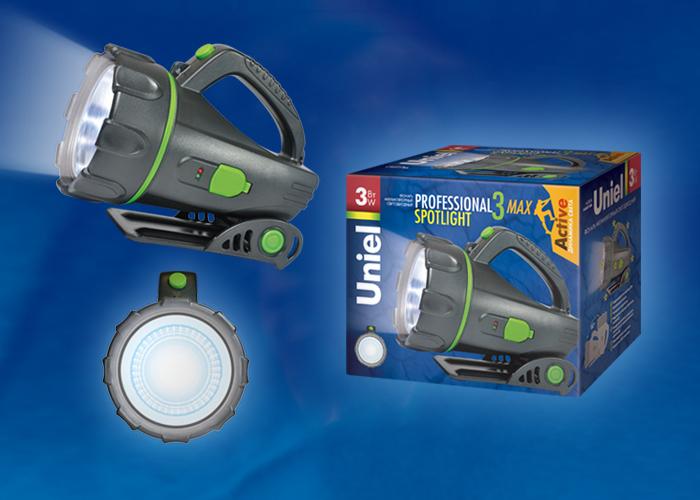 Фонарь Uniel S-SL011-BA Black серии Стандарт Professional spotlight - 3 max , пластиковый корпус, 3 Watt LED, упаковка — цветной короб, 3.6V 1200mA Ni-MH battery в/к