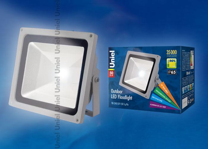 Прожектор светодиодный ULF-S01-50W/NW 110-240В Корпус серый. Цвет свечения белый. Степень защиты IP65