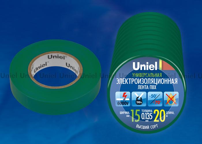 Изоляционная лента Uniel UIT-135P 20/15/10 GRN 20м, 15мм, 0,135мм, 10шт, цвет Зеленый