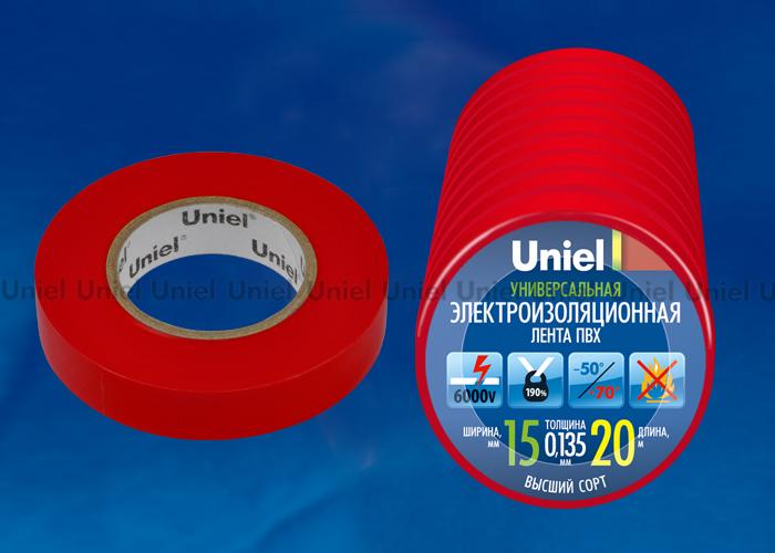 Изоляционная лента Uniel UIT-135P 20/15/10 RED 20м, 15мм, 0,135мм, 10шт, цвет Красный