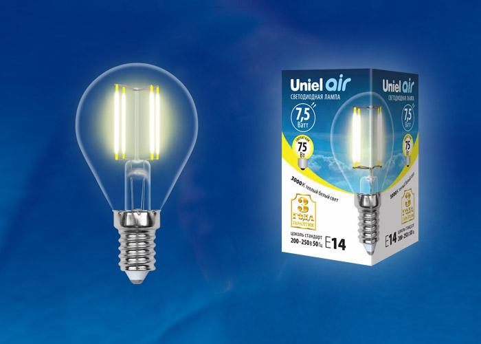 LED-G45-7,5W/WW/E14/CL GLA01TR картон - фото 48401