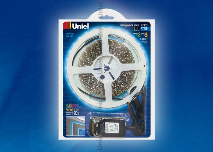 ULS-3528-60LED/m-8mm-IP20-DC12V-5M-BLUE блистер - фото 47918