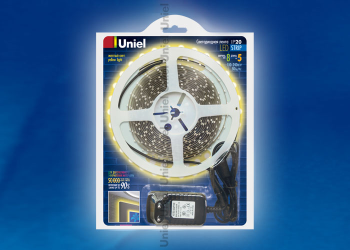 ULS-3528-60LED/m-8mm-IP20-DC12V-5M-YELLOW блистер - фото 47920