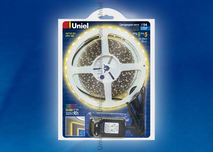 ULS-3528-60LED/m-8mm-IP54-DC12V-5M-YELLOW блистер - фото 47930