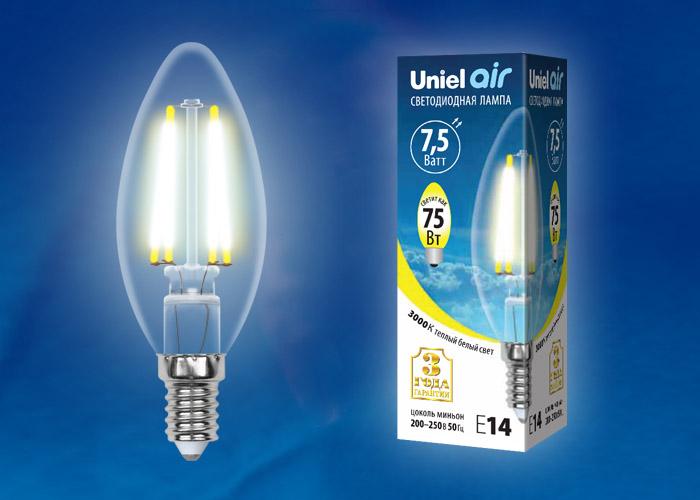 LED-C35-7,5W/WW/E14/CL GLA01TR картон - фото 48415