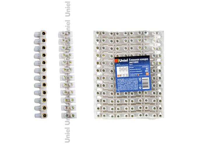 Клеммная колодка винтовая Uniel UTС-D-12 / UPE-080 White 10 SHRK , тип U, материал Полиэтилен, допустимый ток 80А, цвет белый, 10 шт/шринк