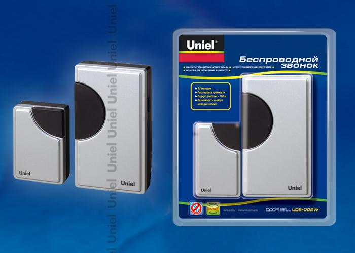 Звонок беспроводной UDB-002W-R1T1-32S-100M-SL  32 мелодии, серебристый цвет корпуса