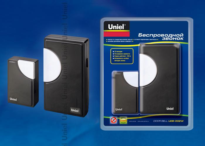 Звонок беспроводной UDB-002W-R1T1-32S-100M-BL 32 мелолдии, черный цвет корпуса