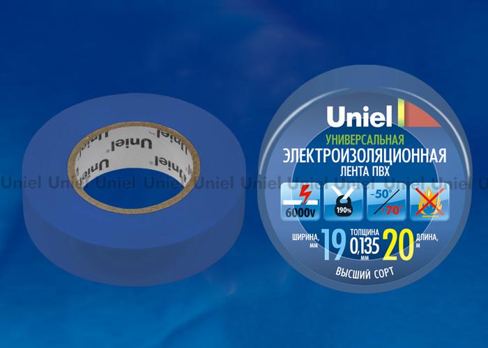 Изоляционная лента Uniel UIT-135P 20/19/01 BLU 20м, 19мм, 0,135мм, 1шт, цвет Синий