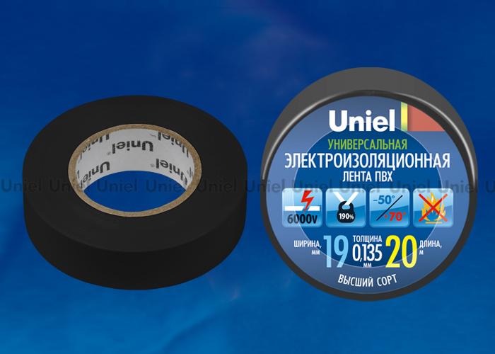Изоляционная лента Uniel UIT-135P 20/19/01 BLK 20м, 19мм, 0,135мм, 1шт, цвет Черный