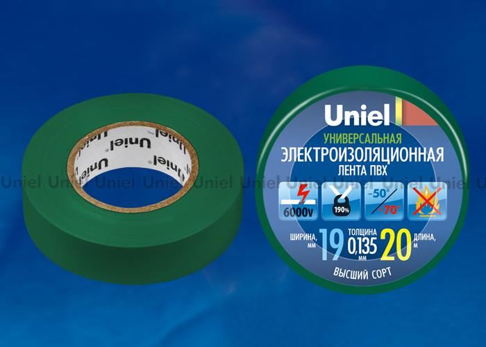 Изоляционная лента Uniel UIT-135P 20/19/01 GRN 20м, 19мм, 0,135мм, 1шт, цвет Зеленый