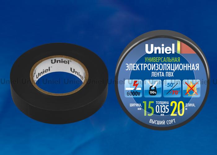 Изоляционная лента Uniel UIT-135P 20/15/01 BLK 20м, 15мм, 0,135мм, 1шт, цвет Черный