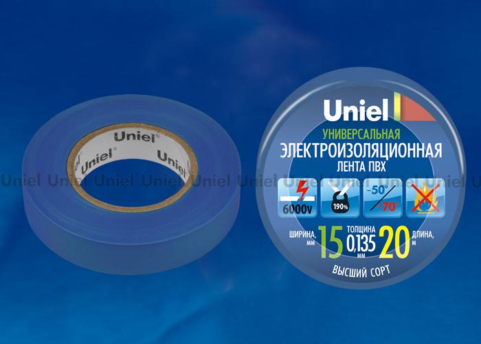 Изоляционная лента Uniel UIT-135P 20/15/01 BLU 20м, 15мм, 0,135мм, 1шт, цвет Синий