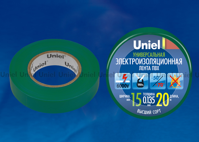 Изоляционная лента Uniel UIT-135P 20/15/01 GRN 20м, 59мм, 0,135мм, 1шт, цвет Зеленый