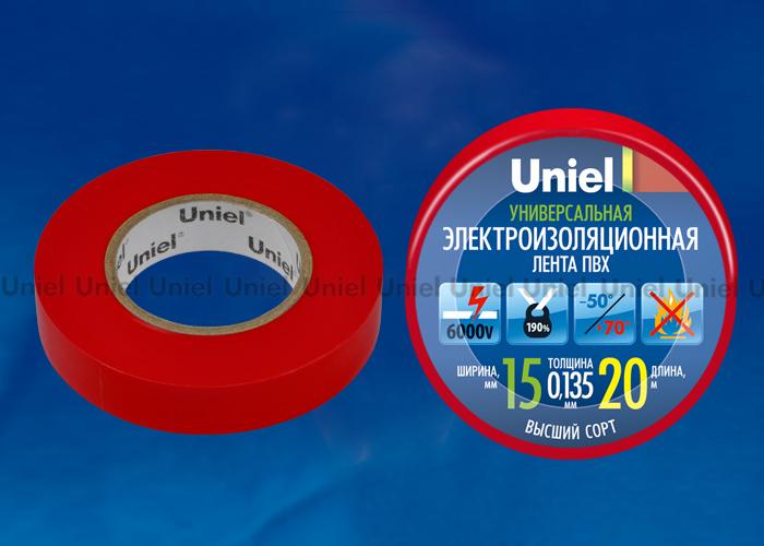 Изоляционная лента Uniel UIT-135P 20/15/01 RED 20м, 15мм, 0,135мм, 1шт, цвет Красный