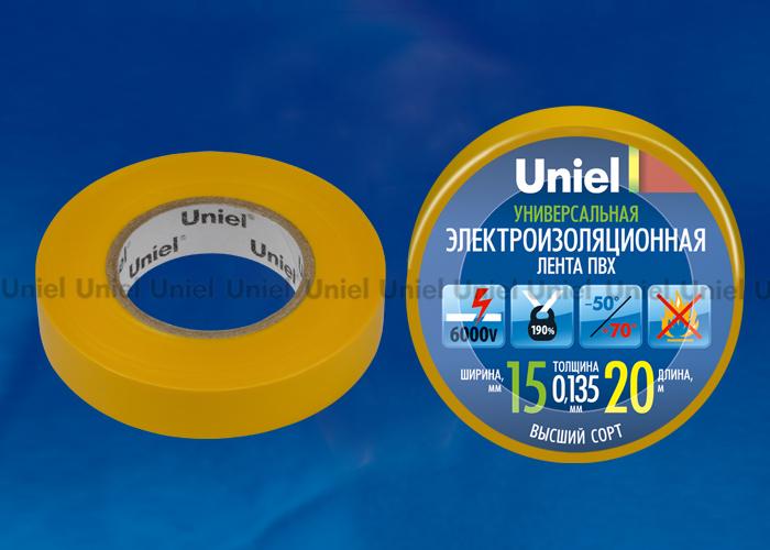 Изоляционная лента Uniel UIT-135P 20/15/01 YEL 20м, 15мм, 0,135мм, 1шт, цвет Желтый