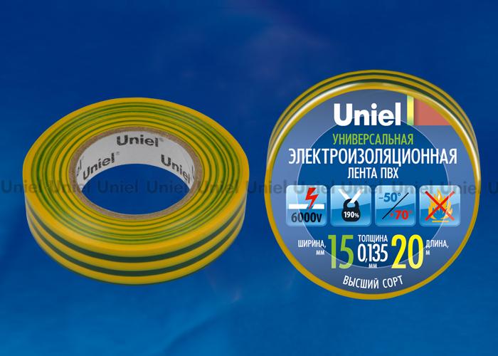 Изоляционная лента Uniel UIT-135P 20/15/01 YGR 20м, 15мм, 0,135мм, 1шт, цвет Желто-Зеленый